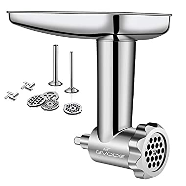 Stainless Steel Food Grinder Attachment fit KitchenAid Stand Mixers Including Sausage Stuffer, Dishwasher Safe,Durable Mixer Accessories as Meat Processor