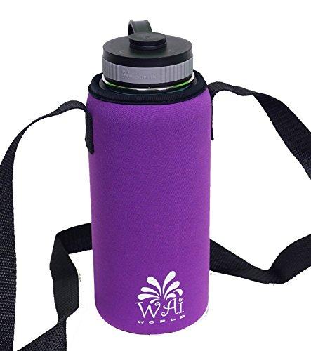 Water Bottle With Strap: Water Bottle Carrier With Shoulder Strap, Neoprene, Purple