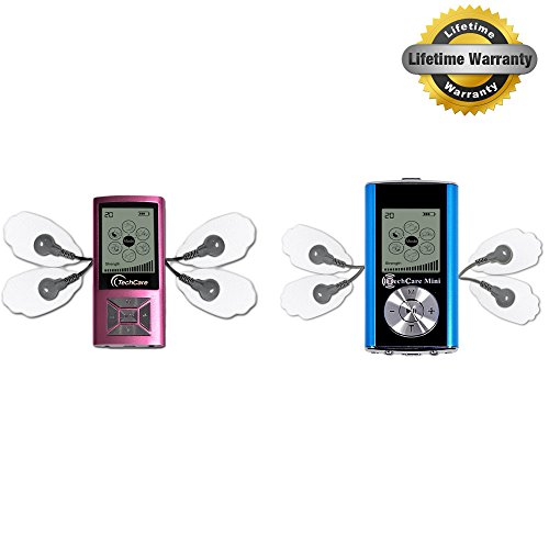2 Pack Deal TechCare Mini Pink and Blue [Lifetime Warranty] Best Massager Tens Unit Machine for Pain Management, Actic, Nerve Disorder, Plantar Fasciitis, Neuropathy Treatments