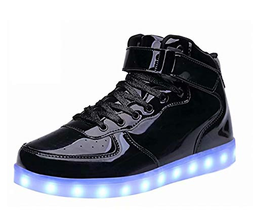 LED Light Up Shoes USB Flashing Sneakers For Toddler/Kids Boots-34(Shining Black