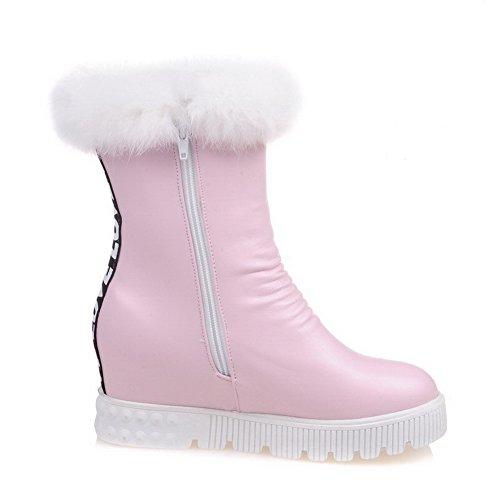 AllhqFashion Damen Hoher Absatz Rein Rund Zehe Blend-Materialien Reißverschluss Stiefel, Weiß, 34