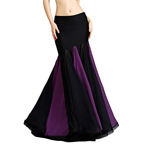 ROYAL SMEELA Belly Dance Costume for Women Chiffon Belly Dancing Skirts Maxi Fishtail Skirt Ruffle Mermaid Skirt Dress Outfit Purple -