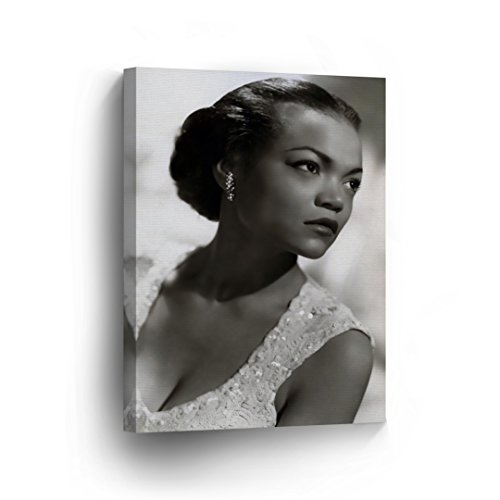 (Eartha Kitt Pretty in Fancy Dress Black and White Wall Art CANVAS PRINT Beautiful African American Icon Artwork Home Decor Wrapped Wood Stretched Ready to Hang- %100 Handmade in the)