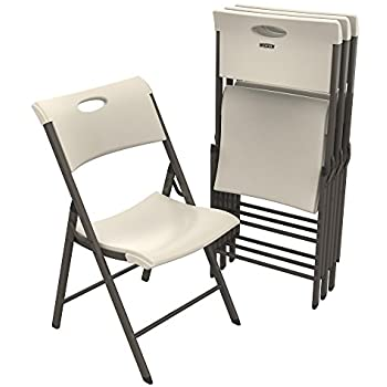 Amazon Com Lifetime 80187 Classic Commercial Grade Folding Chair Black With Gray Frame 4 Pack Kitchen Amp Dining