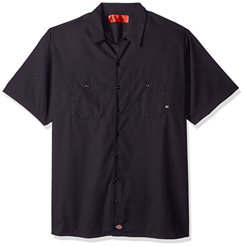 Dickies Occupational Workwear L Polyester Cotton Men's Short Sleeve Industrial Work Shirt, Large, Dark Charcoal