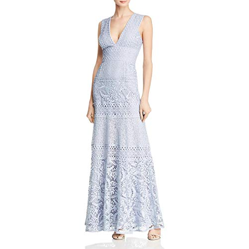 BCBG Max Azria Womens Lace V-Neck Evening Dress Blue 2