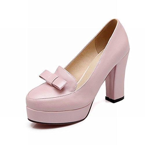 Mode Latina Cute Bow Bloc Pompes À Talons Hauts Plate-forme, Mocassins Chaussures Rose