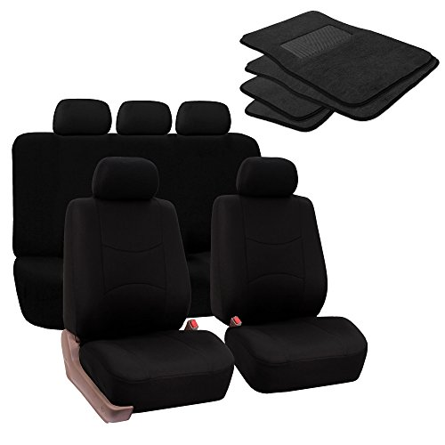 FH Group FB050115 + F14403 Full Set Flat Cloth Car Seat Covers with Premium Carpet Floor Mats, Solid Black- Fit Most Car, Truck, SUV, or Van
