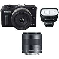 Canon EOS M2 Camera w/ EF-M 22MM f/2, 18-55MM F/3.5-5.6 IS EF-M Lens & 90EX Flash (Black) - International Version (No Warranty)