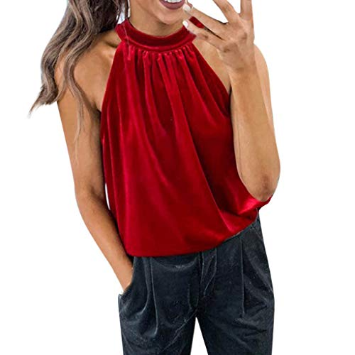Toimothcn Women Halter Neck Tank Tops Vest Sleeveless Off Shoulder T-Shirt Top Blouse Camisole(Red,L)