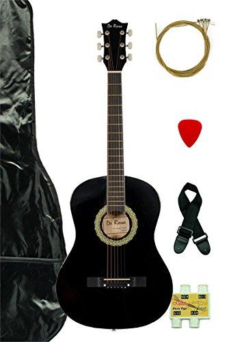 """Crescent MG38-BK 38"""" Acoustic Guitar Starter Package, Black (Includes CrescentTM Digital E-Tuner)"""