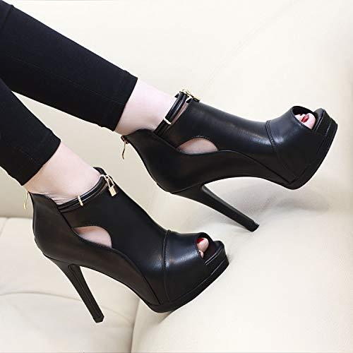 heel empty joker thin waterproof sexy single shoe LBTSQ shoes Black fish high platform Side 10cm mouth heel qUq5xpXwP