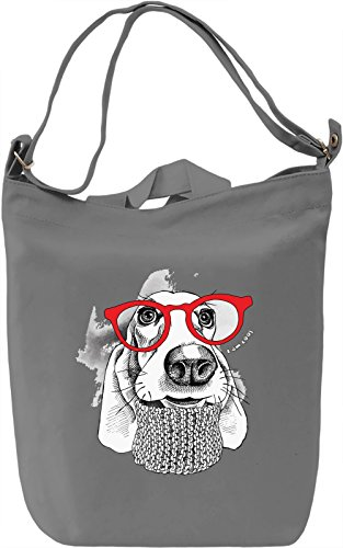 Dog With Red Glasses Borsa Giornaliera Canvas Canvas Day Bag| 100% Premium Cotton Canvas| DTG Printing|