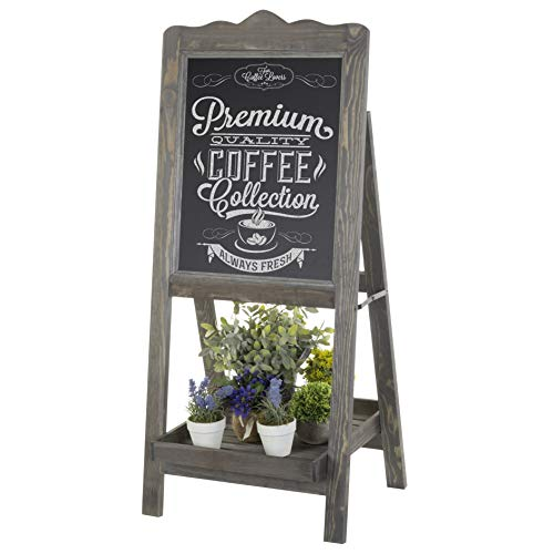 (MyGift Rustic Graywashed Wooden Easel Chalkboard Sign with Plant Shelf)