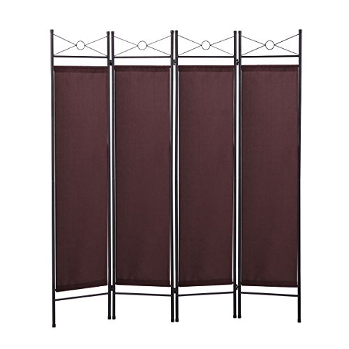 4 Panel Room Divider Privacy Screen Home Folding Partition Fabric Metal Frame Brown (Metal Room Panel Divider 2)