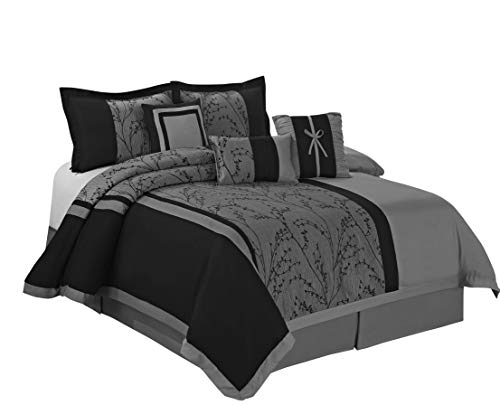 7 Piece LETICIA Tree Branches jacquard Burgundy Black Comforter Set- Queen King Cal.King Size (King) (Gray, (Jacquard Queen 7 Piece Comforter)