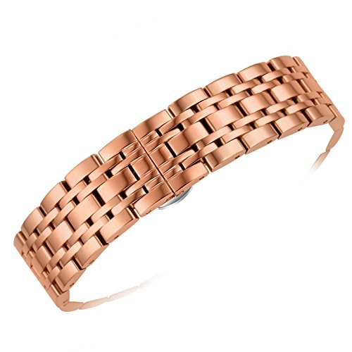 20mm Men's Women's Luxury Rose Gold Metal Watch Bands Inox Strap Replacements Silver Deployment Clasp with Push Button Removable Links -  AUTULET, OT.XHM.20RG.HD