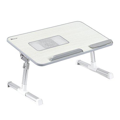Laptoptisch mit USB Lüfter für Notebook bis zu 15 Zoll, 520*300*9mm, einstellbare Höhe und regulierbare Tischplatte (Grau)