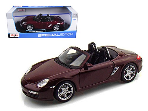 Maisto - Porsche Boxster S Convertible (1/18 scale diecast model car, Maroon) 31123 diecast toys cars