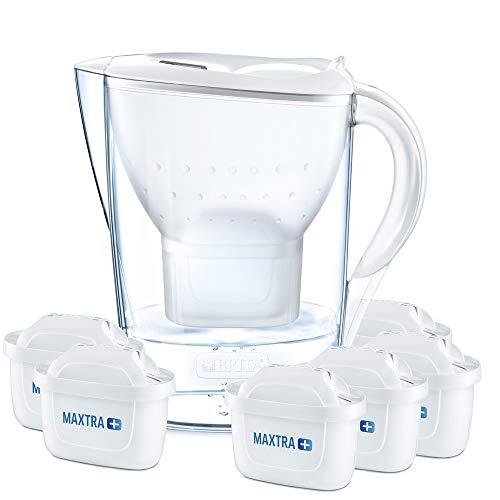 BRITA Marella – Jarra de Agua Filtrada con 6 cartuchos MAXTRA+ – Filtro de agua BRITA de color blanco que reduce la cal y el cloro – Agua filtrada para un sabor excelente