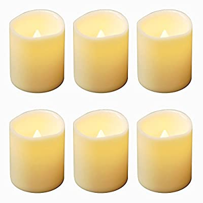 LumaBase 81106 6 Count Battery Operated Mini Pillar Candles, Amber