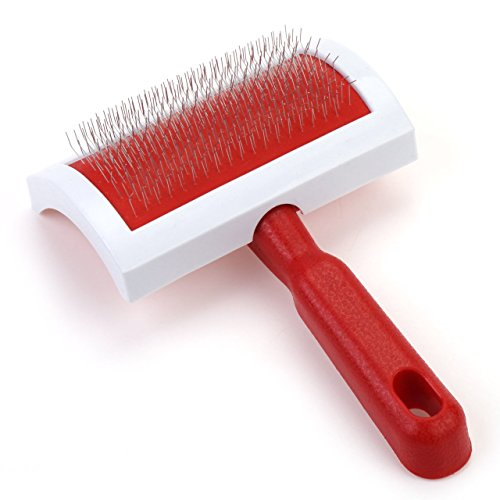 UPC 799493365245, Wonpet Slicker Brush for Pet Dog Grooming Hair Shedding Tool Red Plastic Handle 2 Size Size L