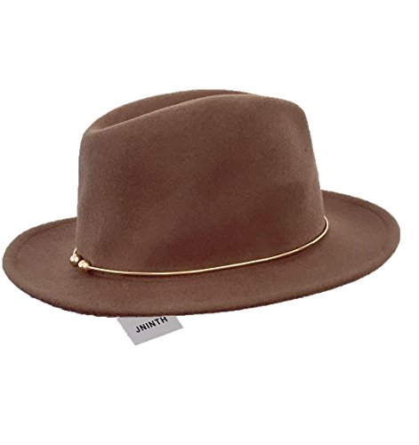 JNINTH Trendy 100% Wool Felt Fedora Hats Wide Brim Comfortable Adjustable Cap with The Unique Metal Circle for Women (Brown Felt Hat)