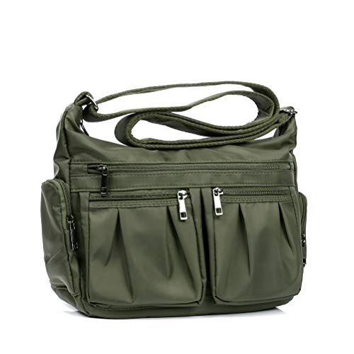 Nylon Crossbody Bags for Women Multi Pocket Shoulder Bag Waterproof Travel Purses and Handbags(Army Green-no card -