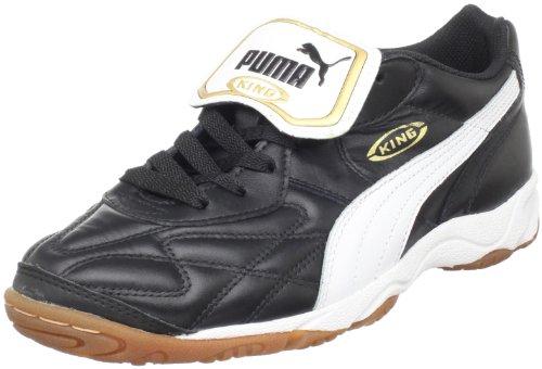 PUMA Men's King Indoor IT Soccer Shoe,Black/White/Gold,7.5 D US