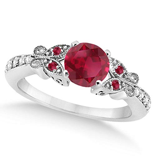 Preset Womenâ€s Ruby and Diamond Butterfly Engagement Ring w/Side Stones 14K White Gold 0.86ctw