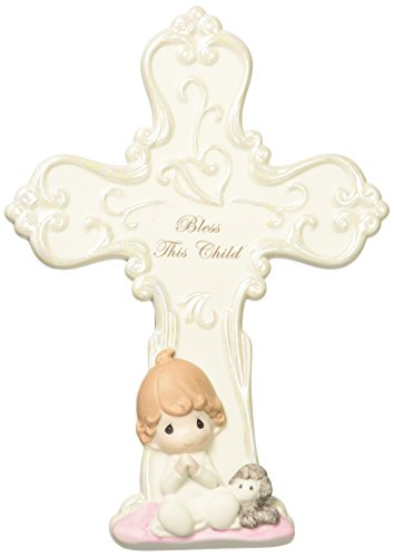 Precious Moments 152405 Bless This Child, Bisque Porcelain Cross with Easel, Girl (Cross Porcelain)