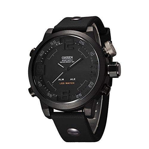 eYotto Unisex Men's Women Simple Design Square Dial Rubber Band Digital LED Wrist Watch(Black)