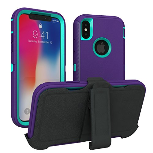 iPhone X Case, iPhone Xs Case, ToughBox [Armor Series] [Shock Proof] [Purple   Aqua] for Apple iPhone X Case [Comes with Holster & Belt Clip] [Fits OtterBox Defender Series Belt Clip]