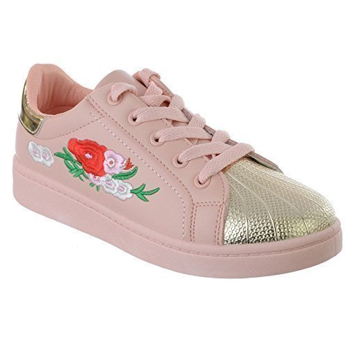 Miss Image UK Ladies Womens New Floral Embroidered Lace UP Flat Pumps Sneakers Trainers Shoes Size Pink / Gold 9sYcHx4w