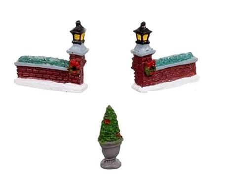 Christmas Village Accessories.Cobblestone Corners Miniature Christmas Village Resin Accessories