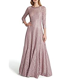 Women's Long Sleeve Embellished Neck Gown