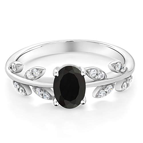 Gem Stone King 925 Sterling Silver Black Onyx Olive Women s Vine Ring 1.01 Ct Oval Gemstone Available 5,6,7,8,9