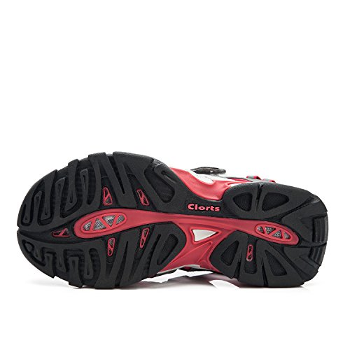 Sl Loop Clorts de las mujeres del dedo del pie cerrado al aire libre de la sandalia atl¨¦tico Pescador Senderismo Agua sandalia Rojo