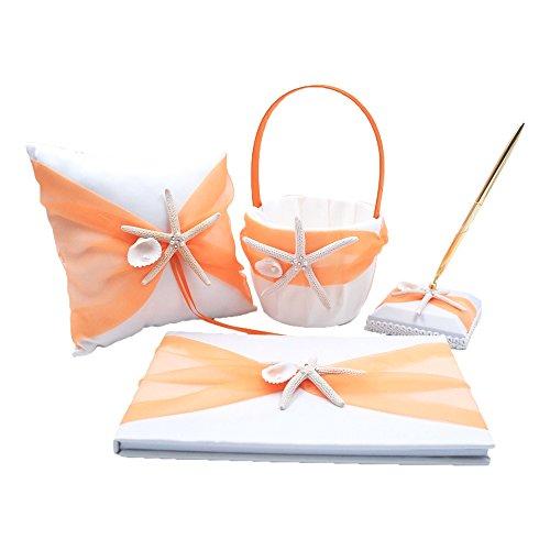 - Abbie Home Peach Organza Bowknot Wedding Guest Book + Pen + Pen Stand + Ring Pillow + Flower Basket Set Romantic Beach Wedding Party Favor-Orange
