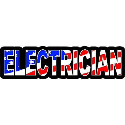 "3 - Electrician US Flag Hard Hat/Helmet Stickers 1"" x 2"" H139: Automotive"