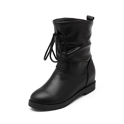 Allhqfashion Women's Round Closed Toe Solid Mid Top Kitten Heels Boots Black