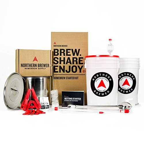Northern Brewer Brew. Share. Enjoy. HomeBrewing Starter Set With Block Party Amber Beer Brewing Recipe Kit And Stainless Steel Brew Kettle - Equipment For Making 5 Gallons Of Homemade Beer (Beer Brewing Kettle)