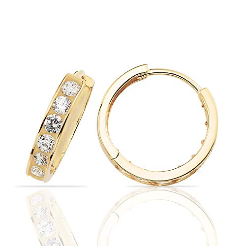 Stylish Small Hoop Huggie Earrings in 14K Yellow Gold for ()
