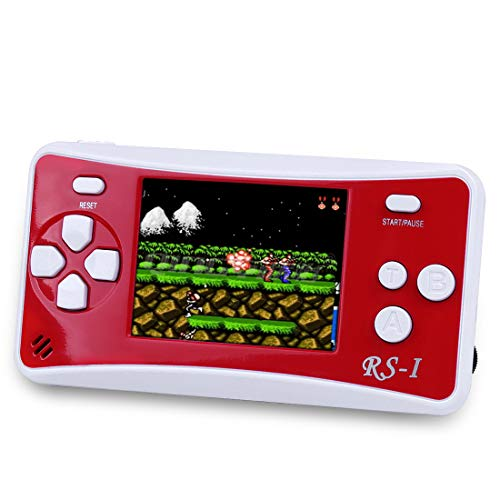 """Sollop RS-1 Handheld Game Console for Children,The 80's Arcade Retro Game Player with 2.5"""" 8-Bit LCD Portable Video Games Can Connected TV,Built-in 152 Classic Old School Games Entertainment(Red)"""