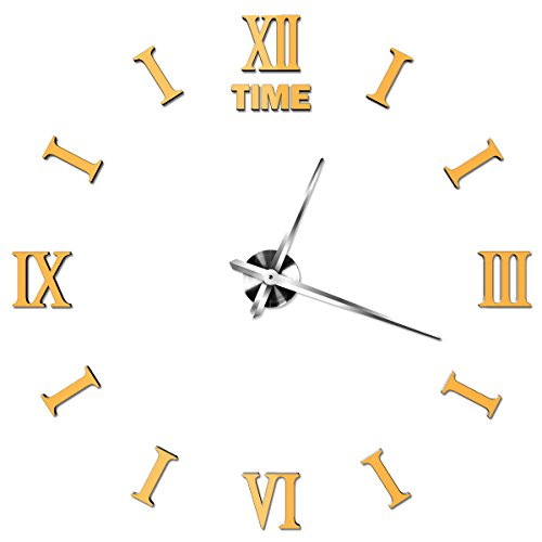 TODDCAHALAN Home DIY Decorative Wall Stickers Roman Number Gold Removable XXL Large Mirrors Wall Clock Gift living room