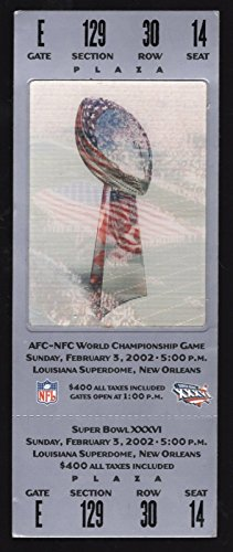 2002 Super Bowl XXXVI New England Patriots Vs St.Louis Rams Full Ticket ()