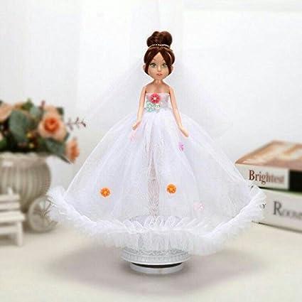 IU Desert Rose Cajas de música Hermosas y Creativa Vestido de Novia muñeca Nupcial giratoria Caja