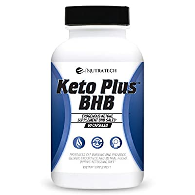 Nutratech Keto Plus BHB Salts Ketogenic Diet Pills. Exogenous Ketone Weight Loss Supplement Formulated for Deep Ketosis, and Additional Energy, Fat Burning, and Focus on Ketogenic Diet.