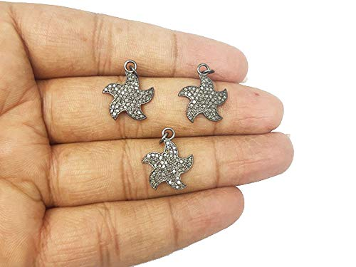 Elegantjewels 1 Pcs Pave Diamond Dancing Star Shape 925 Sterling Silver Charm Pendant - Diamond Charms