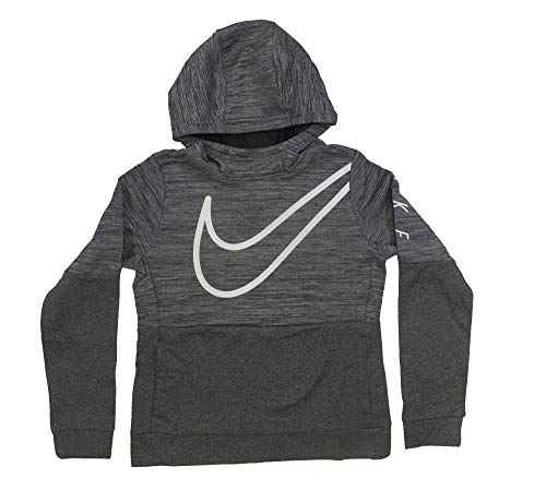 (NIKE Girl's Graphic Training Pullover Hoodie Black/White Size Large)